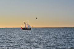 Ancient sail ship at sea Stock Photos
