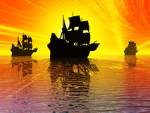 Ancient sail ships. At sunset.3d illustration Stock Photo