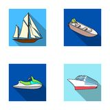 Ancient sailboat, motor boat, scooter, marine liner.Ships and water transport set collection icons in flat style vector Royalty Free Stock Photos