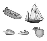 Ancient sailboat, motor boat, scooter, marine liner.Ships and water transport set collection icons in monochrome style. Vector symbol stock illustration Stock Photo