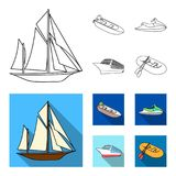 Ancient sailboat, motor boat, scooter, marine liner.Ships and water transport set collection icons in outline,flat style. Vector symbol stock illustration Stock Photos