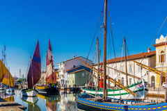 Ancient sailboats on Italian Canal Port Stock Images