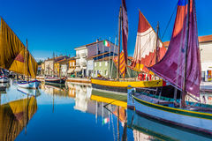 ancient sailboats on Italian Canal Port royalty free stock image