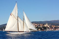 Ancient sailing boat in the Panerai Classic Yachts Royalty Free Stock Photo