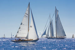 Ancient sailing boat during a regatta at the Panerai Classic Yac Stock Photography