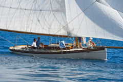 Ancient sailing boat during a regatta at the Panerai Classic Yac Royalty Free Stock Images