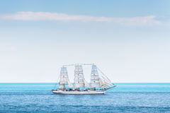 Ancient sailing ship Chersonese in the sea. royalty free stock photo
