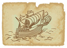 Ancient Sailing Ship. Illustration Stock Photo