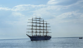 Ancient sailing ship. An ancient sailing ship near the Gulf of Salerno in Italy Stock Images