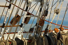 Ancient sailing ship rigging Royalty Free Stock Photo