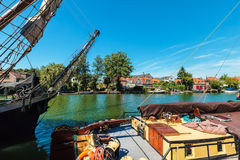 Ancient sailing ships on the Dutch river Vecht Royalty Free Stock Photos