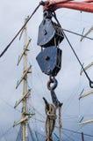 Ancient sailing vessel, the block, close up stock photos