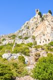 Ancient Saint Hilarion Castle in Kyrenia region, Northern Cyprus. The stronghold, originally monastery, from 10th century. Ancient Saint Hilarion Castle in stock photo