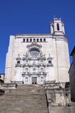 Ancient Saint Mary Cathedral of Girona in Catalonia Stock Image