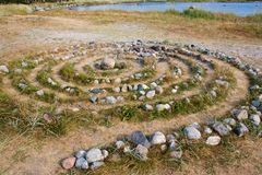 Ancient Sami stone labyrinth on Solovetsky Island Stock Image