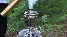 Ancient old samovar stock footage