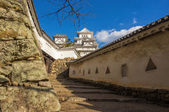 Ancient Samurai Castle of Himeji. With Blue Cloudy Sky. Japan Stock Photo