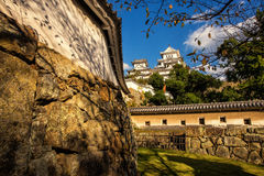 Ancient Samurai Castle of Himeji. With Blue Cloudy Sky. Japan Stock Image