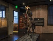 Ancient Samurai on horseback, Dallas, Texas. Pictured is an ancient samurai armor suit and horse equipment in The Ann and Gabriel Barbier-Mueller Museum.  The Stock Images