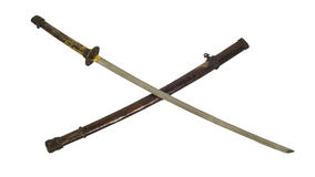 Ancient Samurai sword isolate. Ancient Samurai sword with sheath isolate Stock Photo