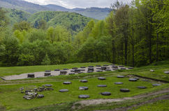 Ancient sanctuary stone ruins at Sarmizegetusa Regia Royalty Free Stock Photos