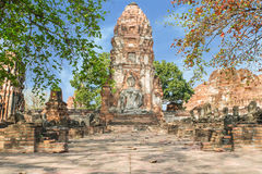 Ancient sandstone of Buddha at Wat Mahathat, Ayutthaya, Thailan Stock Photography