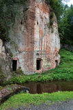 Ancient sandstone cliffs in the Gaujas National Park, Latvia Stock Photo
