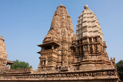 Ancient sandstone hindu temples in Khajuraho Stock Photography