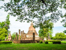 An ancient sandstone pagoda in Chana Songkhram Temple Stock Image