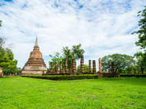 An ancient sandstone pagoda in Chana Songkhram Temple Royalty Free Stock Photo