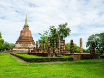 An ancient sandstone pagoda in Chana Songkhram Temple Stock Photos
