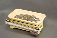 Ancient scales with coins Stock Photo