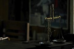 Ancient Scales On the wooden table stock photography