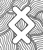 Ancient scandinavic rune ingwaz with doodle ornament background. Coloring page for adults. Psychedelic fantastic mystical artwork royalty free illustration