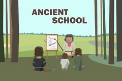 Ancient School in Forest royalty free illustration