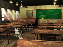 Ancient school. Old school, with tables, teacher's desk and blackboard. Lights on, and sunlight entering through windows Stock Photos