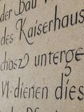 Ancient scraped inscriptions on the wall. The photo was taken in August last summer in Vienna Austria stock photo