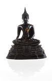 Ancient Scratch Black Buddha Isolated Royalty Free Stock Photography