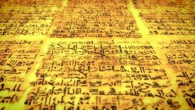 Ancient script, old scroll with unknown letters, pan fly over royalty free illustration