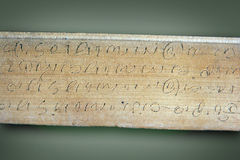 Ancient scriptures. On a leaf stock photography