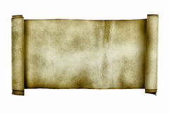 Ancient scroll. Isolated over a white background Stock Photos