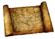 Ancient scroll. Map isolated on white Stock Image