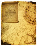 Ancient scroll. With map and compass Stock Photo