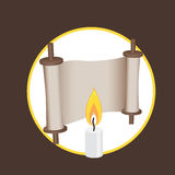 Ancient scroll and candle elements for logo and web Stock Image