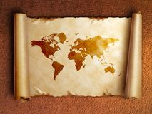 Ancient scroll map with curled edges Stock Images