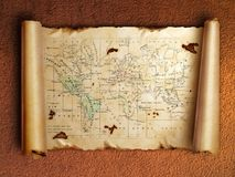 Ancient scroll map with curled edges Royalty Free Stock Image