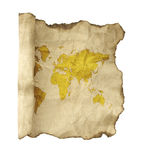 Ancient scroll map, isolated on a white Royalty Free Stock Image