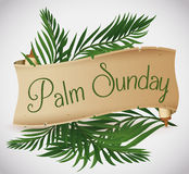 Ancient Scroll with Palm Branches behind for Palm Sunday Holiday, Vector Illustration royalty free stock photos