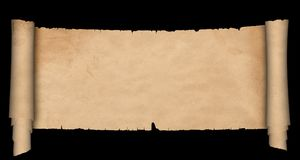 Ancient scroll of parchment. Antique parchment scroll with torn edges on black background Stock Image