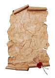Ancient scroll with red seal wax Royalty Free Stock Images